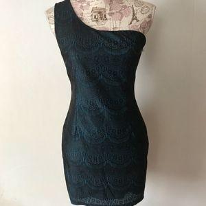 Teal One Shoulder Lace Dress